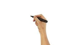 Man Hand Write Something With ...