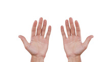 Two Man Hands. Isolated On Whi...