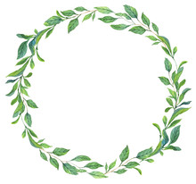 Round Leaves Frame Watercolor Illustration