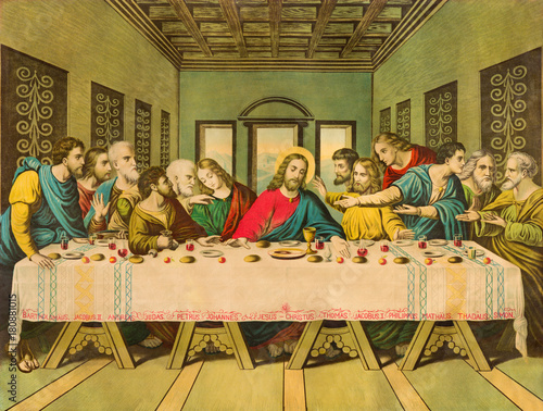 Fotografie, Obraz  BRATISLAVA, SLOVAKIA, NOVEMBER - 11, 2017: Typical catholic image The Last Supper printed in Germany from end of 19