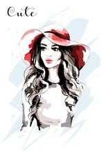 Hand Drawn Beautiful Woman In ...