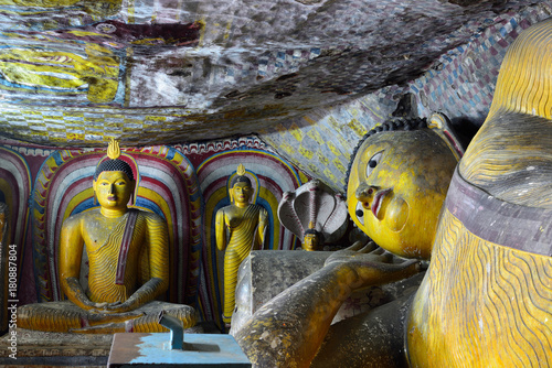 Poster Monument Inside of caves in ancient Buddhist complex in Dambulla cave temple. Sri Lanka