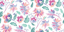 Floral Seamless Background Pattern With Fantasy Flowers And Leaves Line Art. Embroidery Flowers. Vector Illustration..