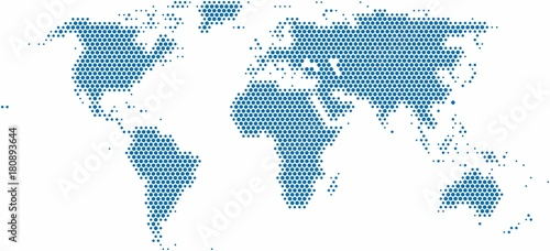 Recess Fitting World Map Dots world map on white background, vector illustration.