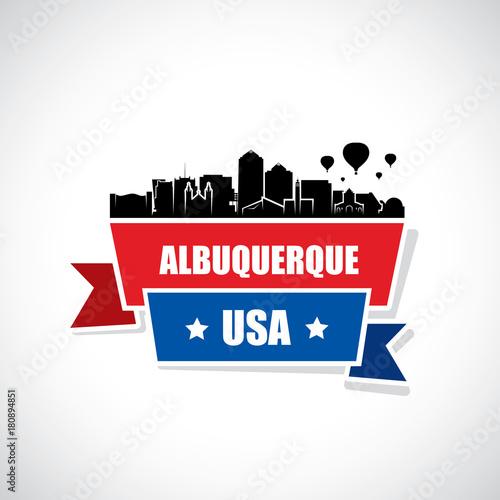 Albuquerque skyline - ribbon banner - New Mexico Canvas Print