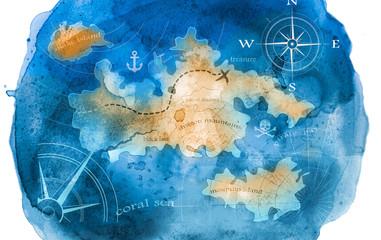 Fototapetawatercolor treasure map illustration