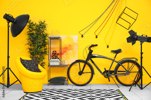 Fotobehang Fiets Modern living room interior with stylish bicycle