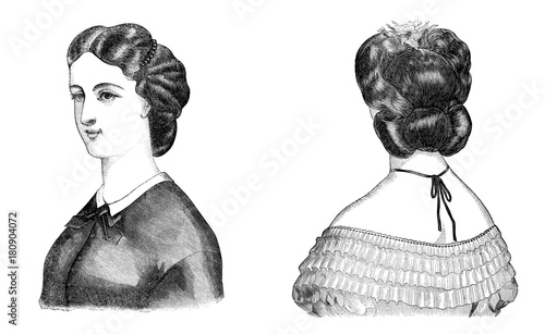 Retro Engraving Hairstyles Buy This Stock Illustration And