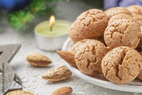 Traditional Italian Almond Cookies Amaretti Sweet Holiday Dessert