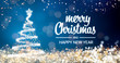 canvas print picture - sparkling gold and silver lights xmas tree Merry Christmas and Happy New Year greeting message on blue background,snow flakes,bright lights decoration.Elegant holiday season social post digital card