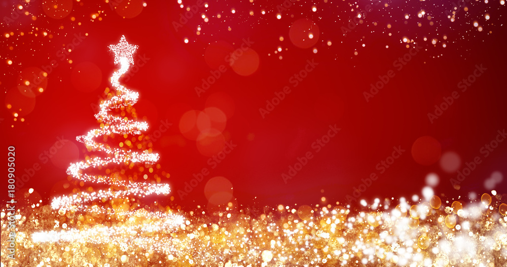 Fototapety, obrazy: golden and silver lights with christmas tree on red background,bright decoration for merry xmas greeting message.Elegant holiday season social post digital card.Copy type space for text or logo