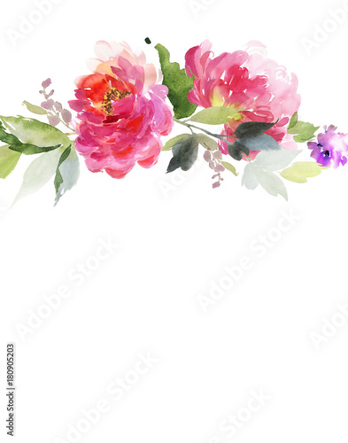 Fototapety, obrazy: Greeting card with peonies watercolor painting.