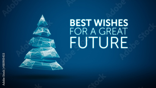 Modern christmas tree and wishes great future season greetings modern christmas tree and wishes great future season greetings message on blue background elegant holiday m4hsunfo