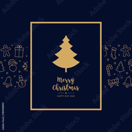 Fototapeta christmas tree icon card elements golden text greeting frame blue background obraz na płótnie