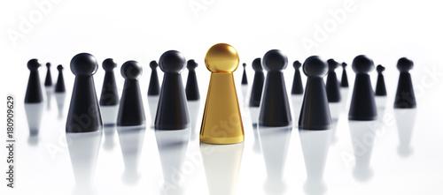 Obraz na plátně Spielfiguren in Formation Gold und Schwarz
