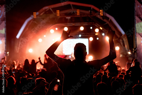 A guy in a life music show in Barcelona, Spain during the august 2017 Canvas Print