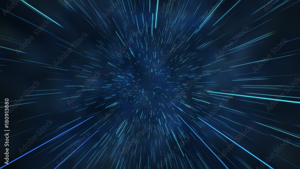 Fototapety, obrazy: Abstract flight in space hyper jump 3d illustration