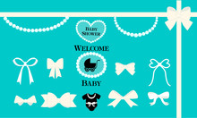 A Set Of Vector Design Elements For A Tiffany Style Party. White Bows, Beads, Pearls On A Blue Background. Can Be Used For Birthday, Wedding,baby And Bridal Shower Invitation.