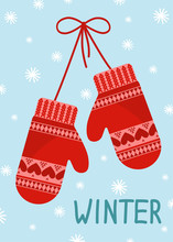 Red Mittens On Blue Snowing Ba...