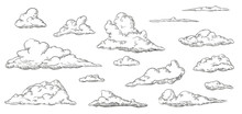Set Of Clouds In Hand Drawn Vi...