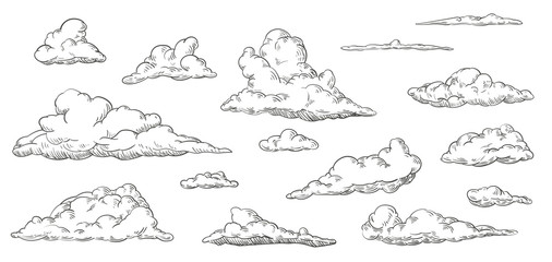 Set of clouds in hand drawn vintage retro style isolated on white background....