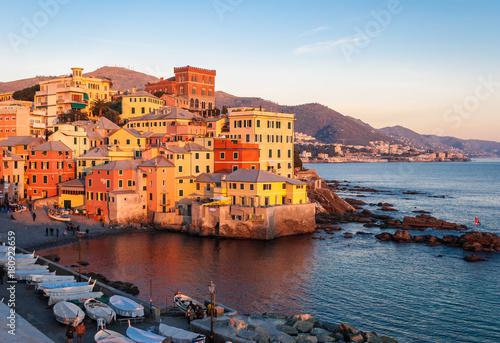 Boccadasse, a small sea district of Genoa, during the golden hour Fototapeta