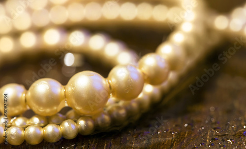 White pearl gift for woman in sepia tone