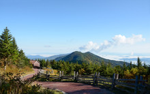 Beautiful View Of Mt. Craig From Mount Mitchell State Park. Landscape With Clouds Over The Mountains And Beautiful Green Hills. Located Off The Blue Ridge Parkway Near Burnsville, North Carolina, USA