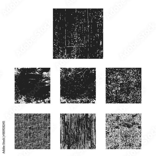 Fotografía  Set of black grunge texture square