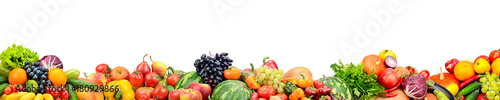 Poster Légumes frais Panoramic collection fresh fruits and vegetables isolated on white