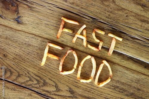 Fotografie, Obraz  pommes schrift fast food I