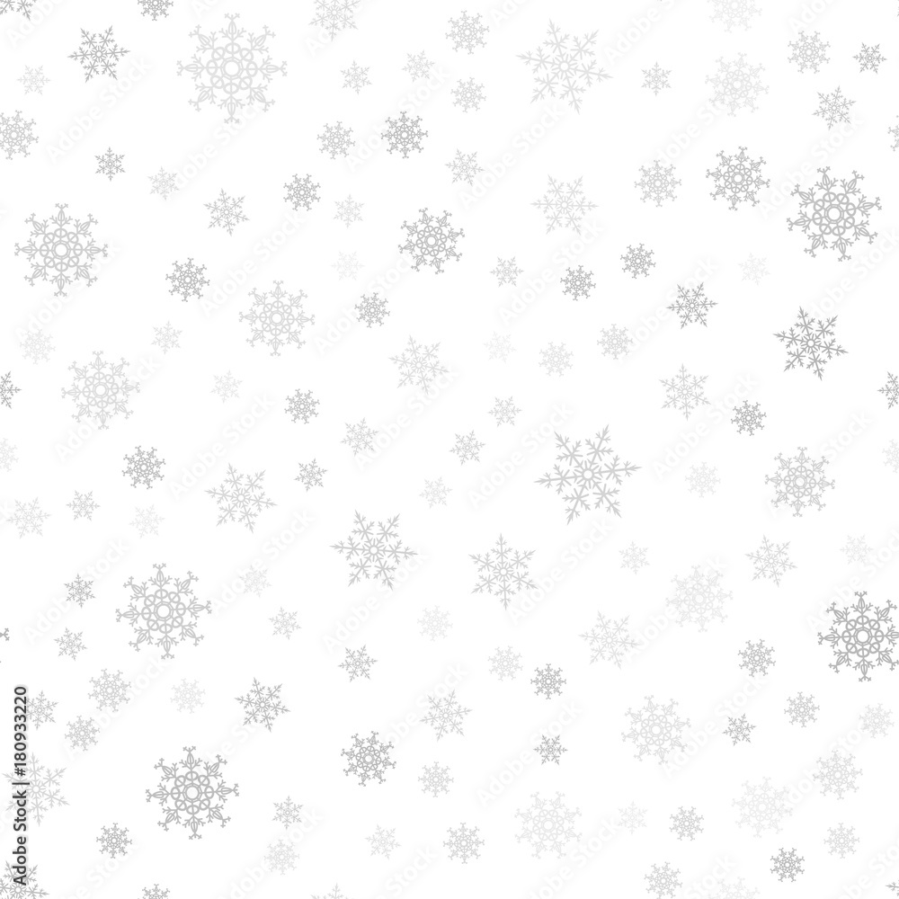 Fototapeta Seamless pattern. Christmas abstract background made of snowflakes on white. Design postcards, posters, greeting for the new year.