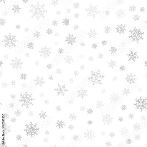 Stoffe zum Nähen Nahtlose Muster. Weihnachten abstrakten Hintergrund von Schneeflocken auf weiß gemacht. Design-Postkarten, Poster, Gruß für das neue Jahr.