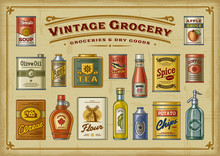 Vintage Grocery Set. Vector Illustration In Retro Woodcut Style.