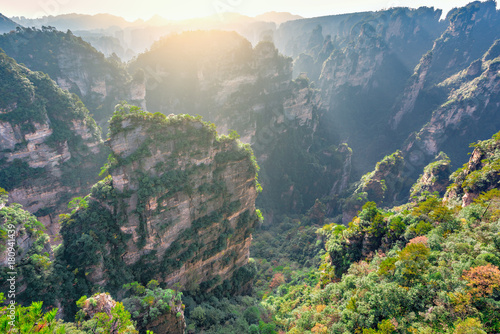Printed kitchen splashbacks South Africa Sunrise view of the colorful cliffs in Zhangjiajie Forest Park.