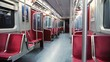 Wide shot of riding an empty subway car late at night