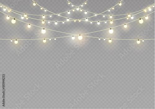 Fotografia  Christmas lights isolated on transparent background
