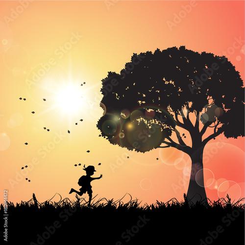 Foto op Aluminium Draken A Boy Goes Outing, Sunset
