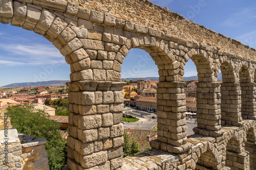 Fotografie, Obraz  The ancient roman aqueduct in Segovia Spain.