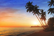 beautiful exotic beach landscape at sunset, tropical holidays on the sea