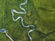 Aerial Landscape Of Winding Ri...