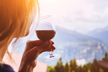 Woman Drinking Red Wine, Close...