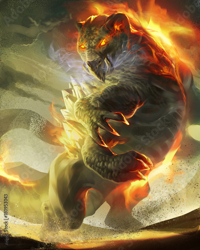 Photo  digital illustration of magical creature lion tiger in fire