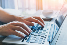Close Up Of Hands Of Business Person Working On Computer, Man Using Internet And Social Media