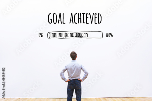 Photo  goal achieved progress loading bar, concept of success, achievement process