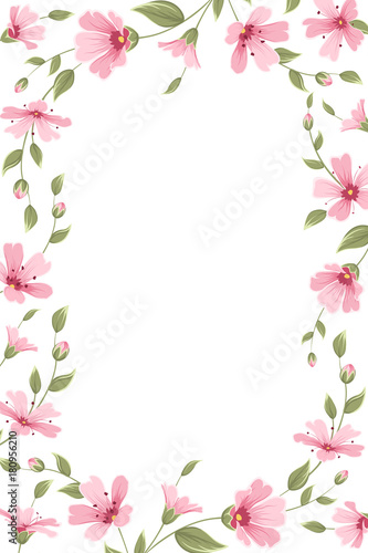 Gypsophila Baby Breath Floral Border Frame Template On White