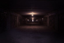 Dark Long Corridor With Metal ...