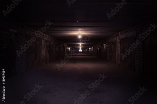 Dark long corridor with metal gates and working bulbs Wallpaper Mural