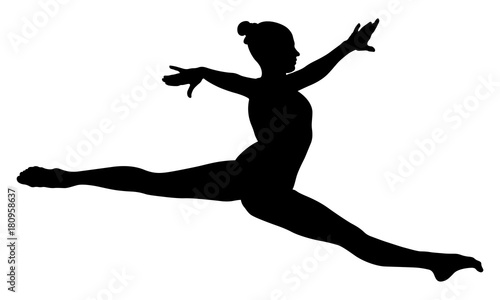 Photo  Split jump girl gymnast in competition gymnastics black silhouette