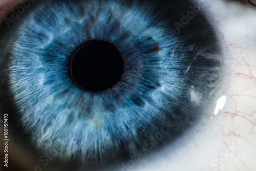 Deurstickers Iris An enlarged image of eye with a blue iris, eyelashes and sclera. the shot is made by a slit lamp with a built-in camera